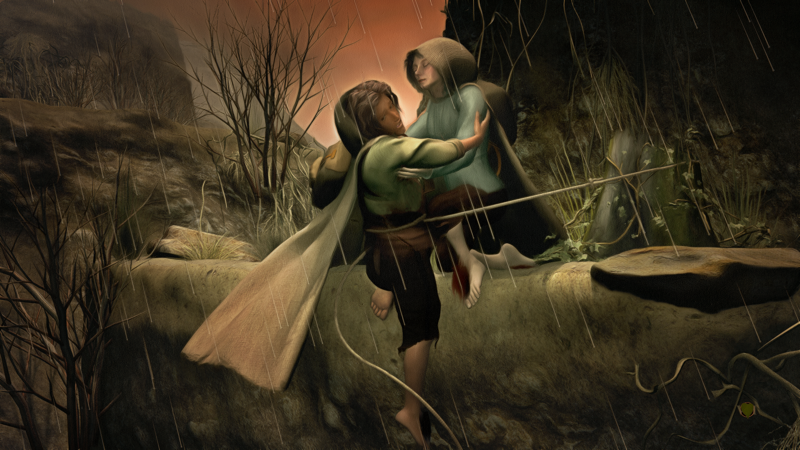 Frodo and Sam climb down the cliff